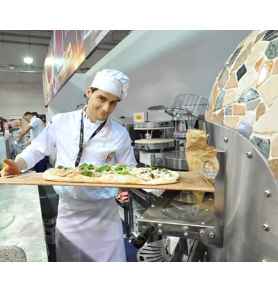 Stone heart pizza wood ovens, gas or mix MORELLO FORNI - live cooking show